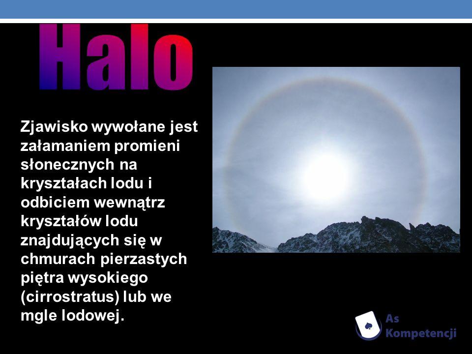 Zjawisko wywołane jest załamaniem promieni słonecznych na kryształach lodu i odbiciem wewnątrz kryształów lodu znajdujących się w chmurach pierzastych