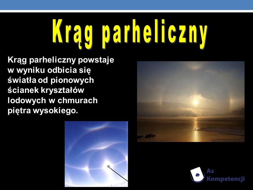 Krąg parheliczny powstaje w wyniku odbicia się światła od pionowych ścianek kryształów lodowych w chmurach piętra wysokiego.