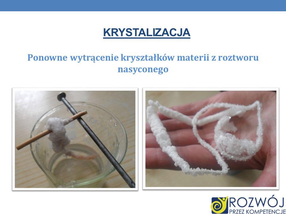 KRYSTALIZACJA Ponowne wytrącenie kryształków materii z roztworu nasyconego
