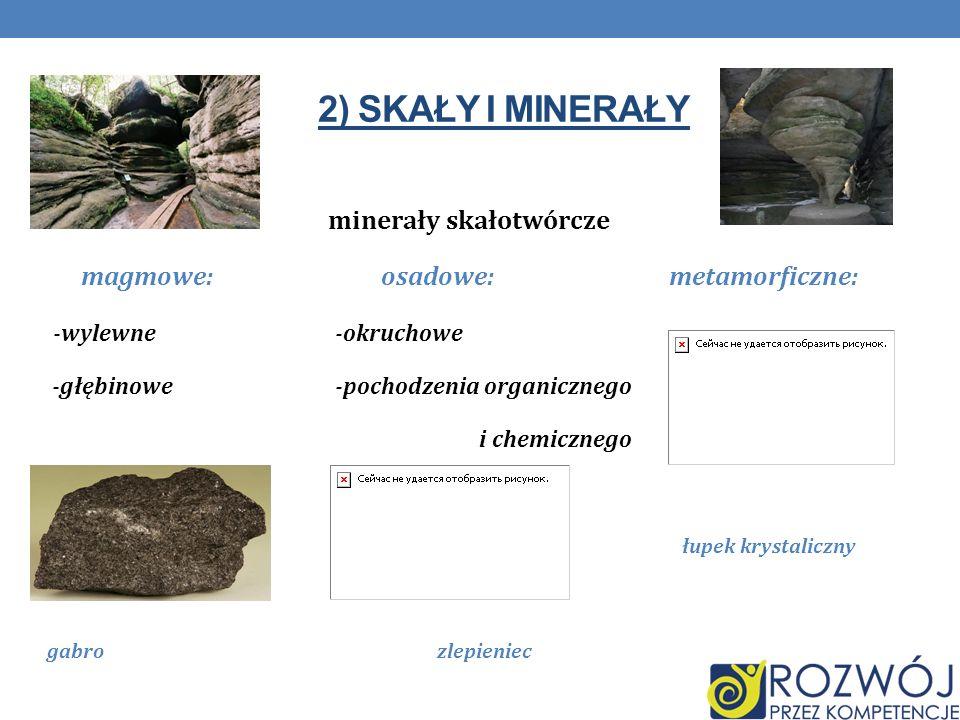 2) SKAŁY I MINERAŁY minerały skałotwórcze magmowe: osadowe: metamorficzne: -wylewne -okruchowe -głębinowe-pochodzenia organicznego i chemicznego łupek