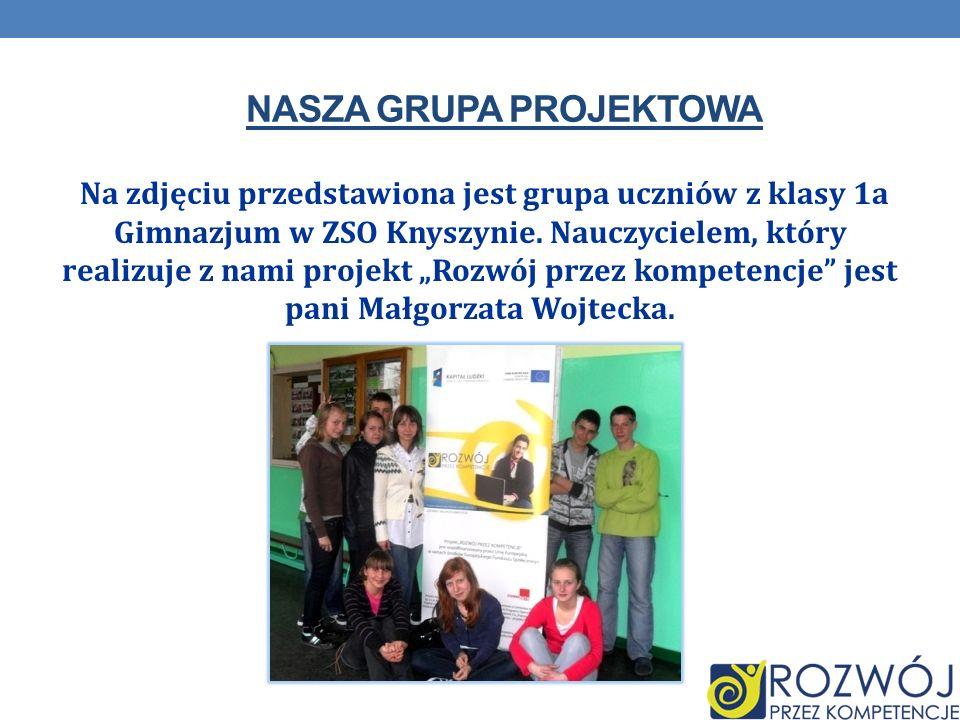 NASZA GRUPA PROJEKTOWA Na zdjęciu przedstawiona jest grupa uczniów z klasy 1a Gimnazjum w ZSO Knyszynie. Nauczycielem, który realizuje z nami projekt