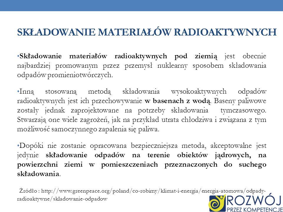 SKŁADOWANIE MATERIAŁÓW RADIOAKTYWNYCH Składowanie materiałów radioaktywnych pod ziemią jest obecnie najbardziej promowanym przez przemysł nuklearny sposobem składowania odpadów promieniotwórczych.