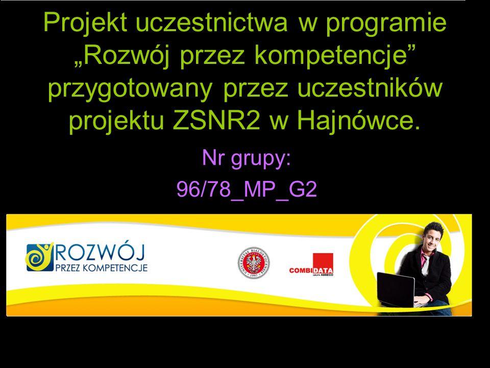 Projekt uczestnictwa w programie Rozwój przez kompetencje przygotowany przez uczestników projektu ZSNR2 w Hajnówce. Nr grupy: 96/78_MP_G2