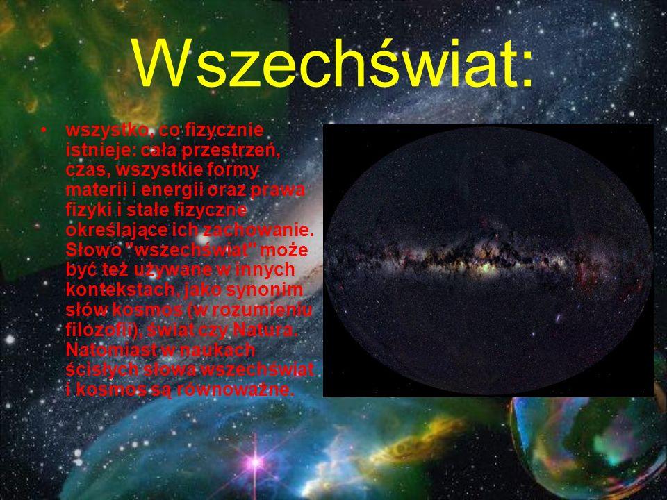 Wszechświat: wszystko, co fizycznie istnieje: cała przestrzeń, czas, wszystkie formy materii i energii oraz prawa fizyki i stałe fizyczne określające