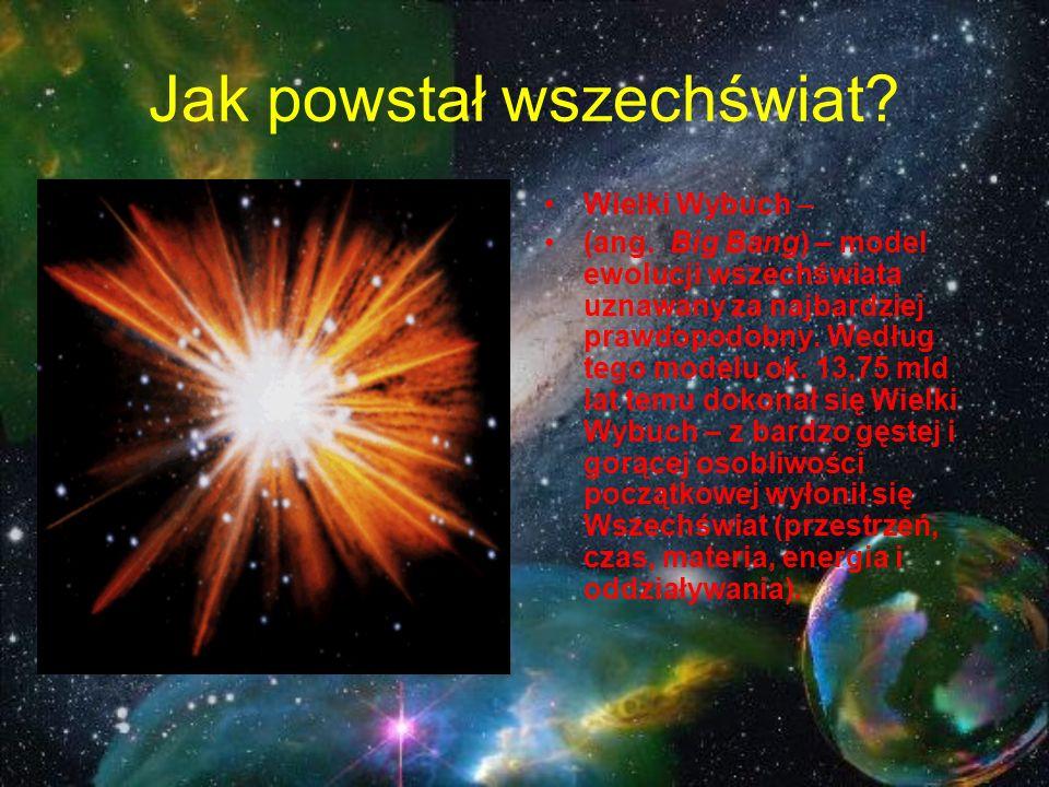 Jak powstał wszechświat? Wielki Wybuch – (ang. Big Bang) – model ewolucji wszechświata uznawany za najbardziej prawdopodobny. Według tego modelu ok. 1