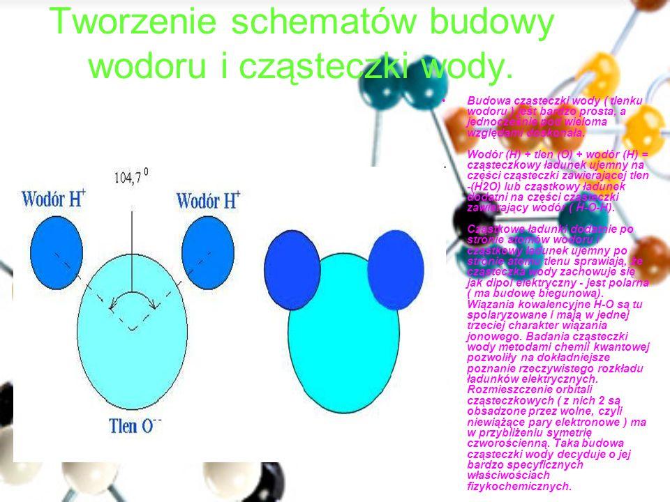 Tworzenie schematów budowy wodoru i cząsteczki wody. Budowa cząsteczki wody ( tlenku wodoru ) jest bardzo prosta, a jednocześnie pod wieloma względami
