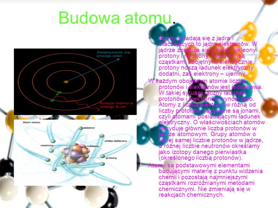 Budowa atomu. Atomy składają się z jądra i otaczających to jądro elektronów. W jądrze znajdują się z kolei nukleony: protony i neutrony. Neutrony są c