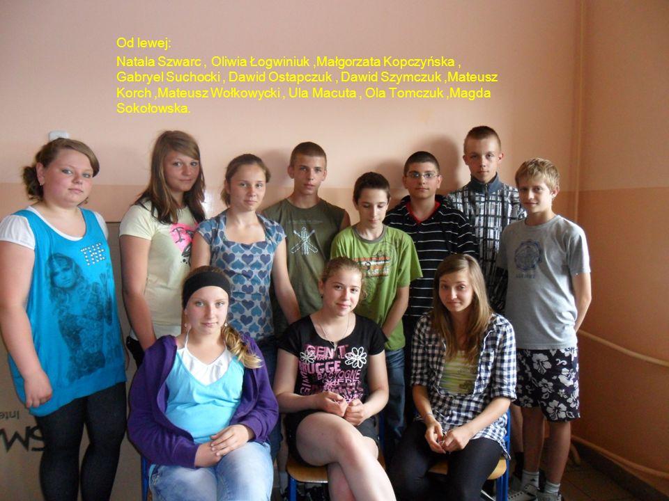 Od lewej: Natala Szwarc, Oliwia Łogwiniuk,Małgorzata Kopczyńska, Gabryel Suchocki, Dawid Ostapczuk, Dawid Szymczuk,Mateusz Korch,Mateusz Wołkowycki, U