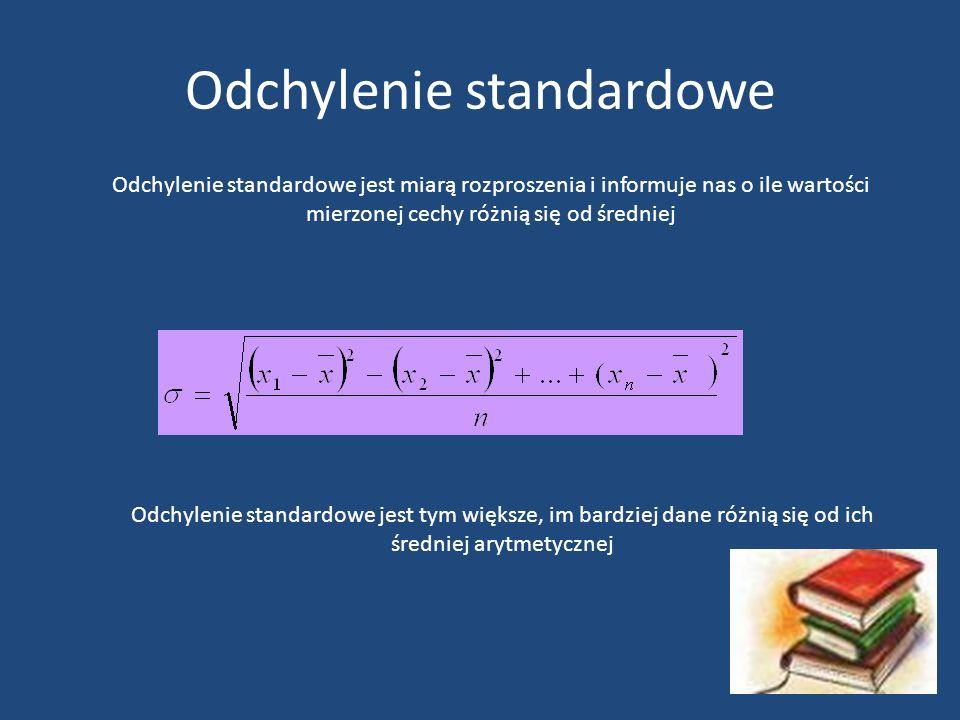 Odchylenie standardowe Odchylenie standardowe jest miarą rozproszenia i informuje nas o ile wartości mierzonej cechy różnią się od średniej Odchylenie standardowe jest tym większe, im bardziej dane różnią się od ich średniej arytmetycznej
