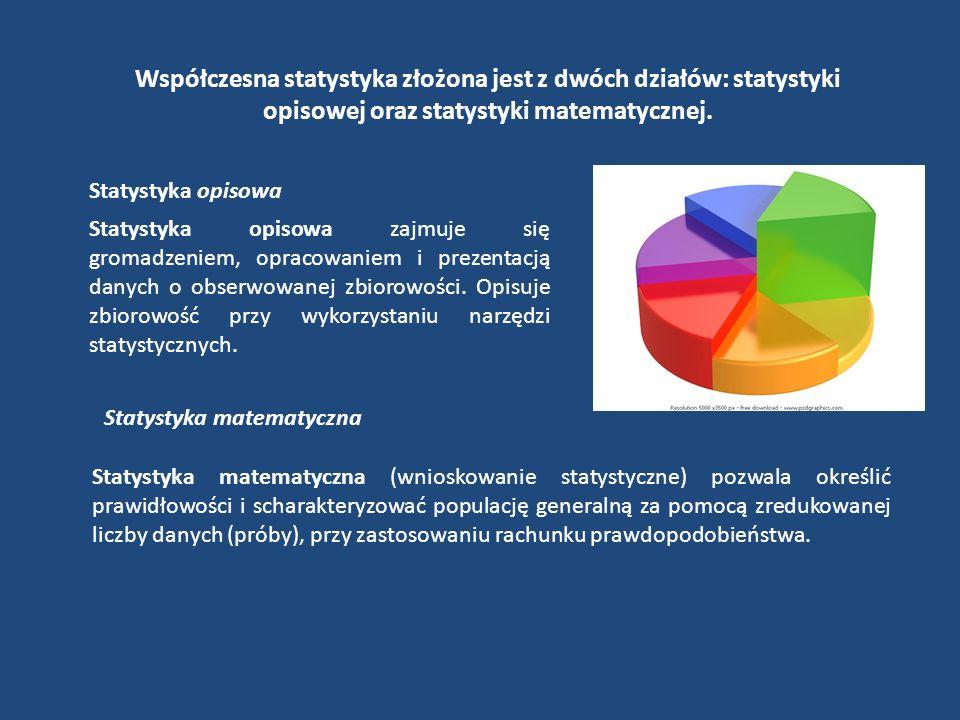 Pojęcia statystyczne Obserwacja statystyczna Etap badania statystycznego; przeprowadza się ją za pomocą wywiadu kwestionariuszowego, ankiety, monitoringu, rejestracji Populacja generalna (zbiorowość generalna) Zbiór obiektów objętych badaniem statystycznym.