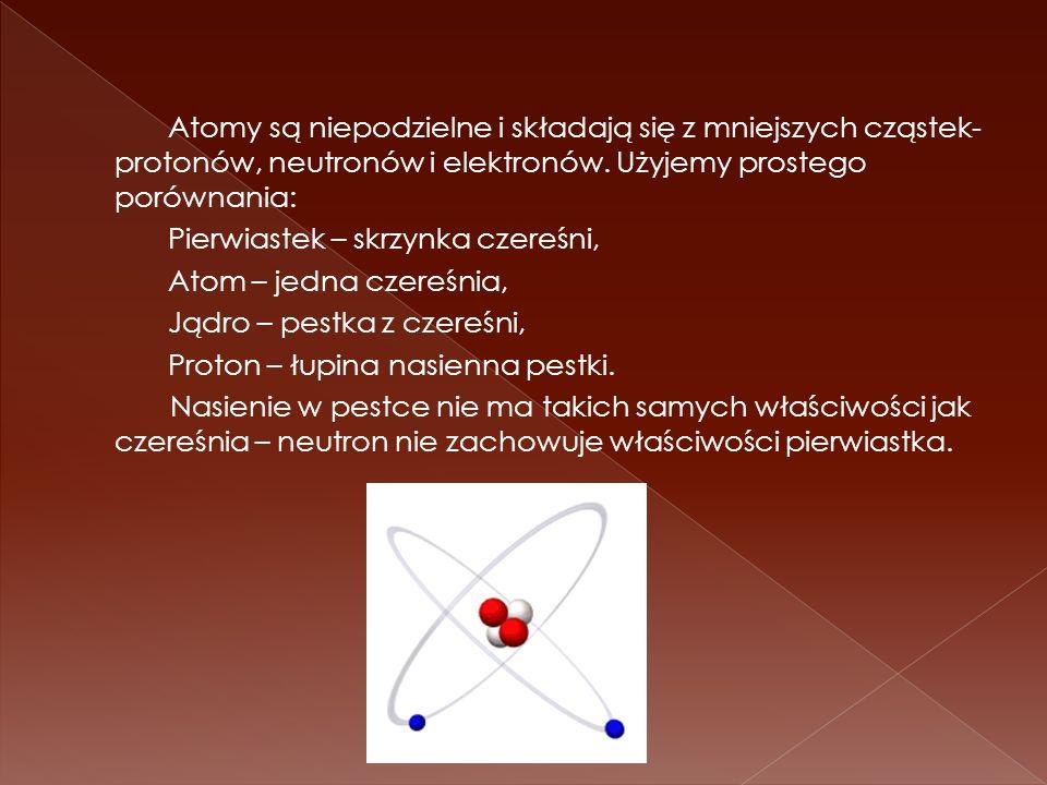 Atomy są niepodzielne i składają się z mniejszych cząstek- protonów, neutronów i elektronów. Użyjemy prostego porównania: Pierwiastek – skrzynka czere