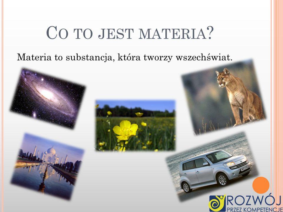 Stany skupienia Ułożenie cząsteczek w różnych stanach skupienia Zjawiska związane ze zmianami stanów skupienia Dyfuzja Woda Nasza Ziemia to też materi