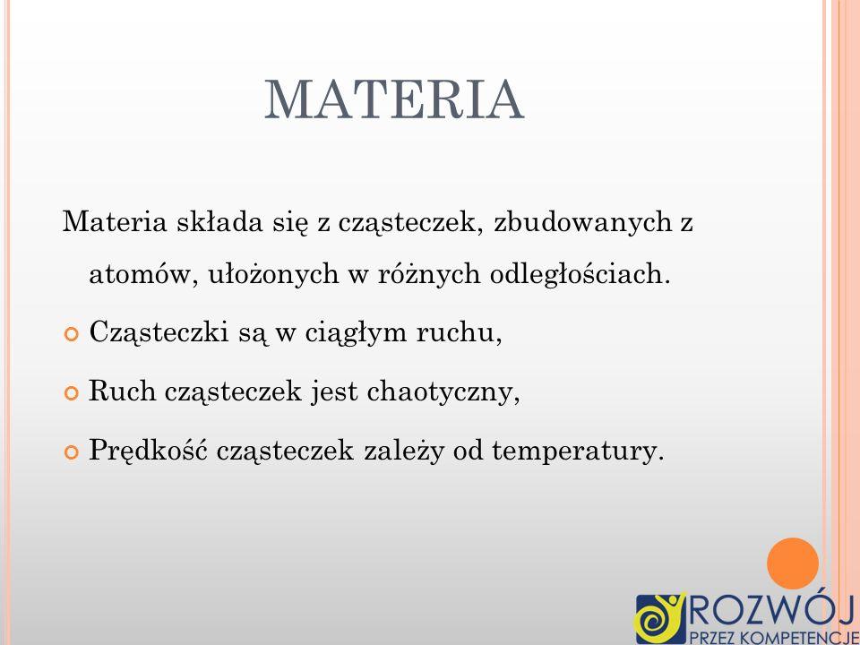 C O TO JEST MATERIA ? Materia to substancja, która tworzy wszechświat.