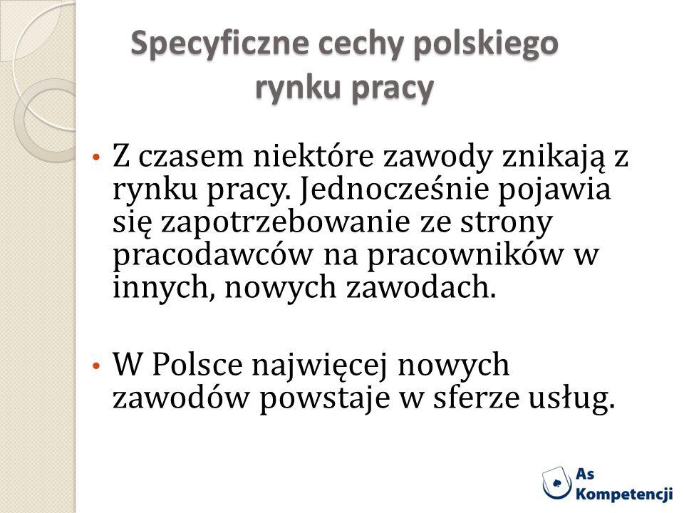 Specyficzne cechy polskiego rynku pracy Z czasem niektóre zawody znikają z rynku pracy. Jednocześnie pojawia się zapotrzebowanie ze strony pracodawców