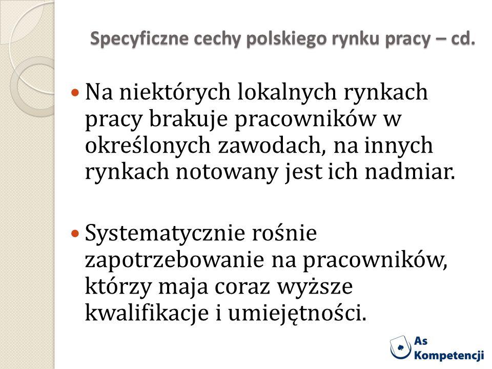 Specyficzne cechy polskiego rynku pracy – cd. Na niektórych lokalnych rynkach pracy brakuje pracowników w określonych zawodach, na innych rynkach noto