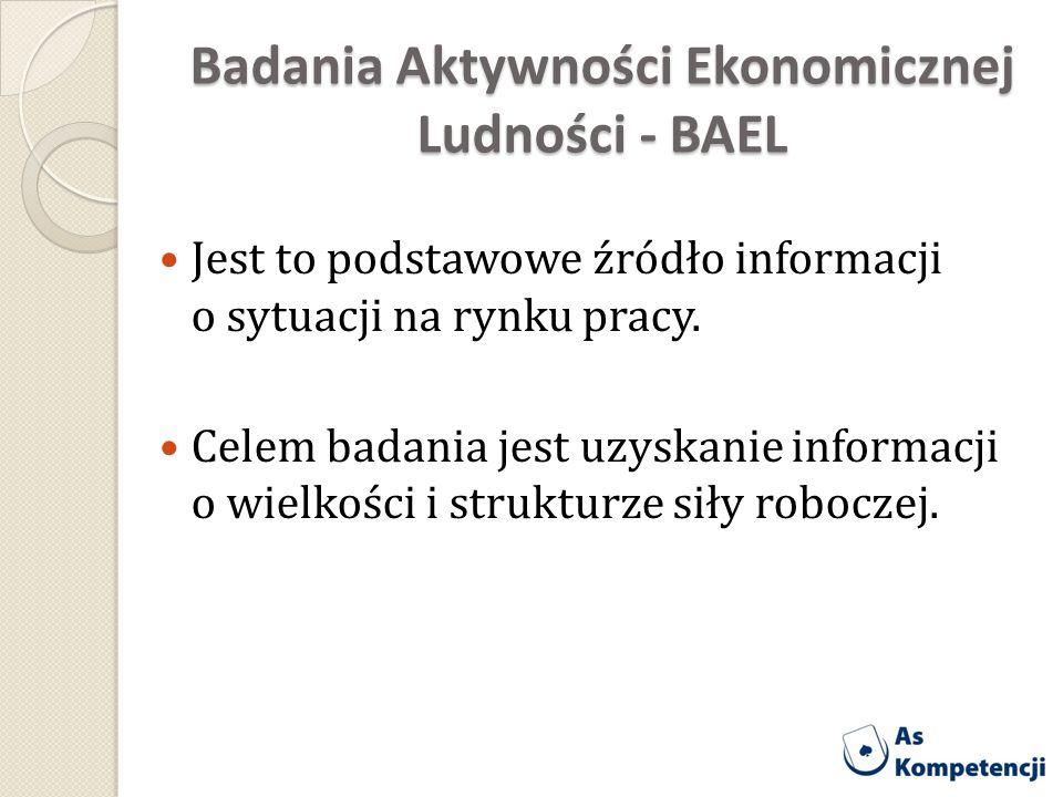 Badania Aktywności Ekonomicznej Ludności - BAEL Jest to podstawowe źródło informacji o sytuacji na rynku pracy. Celem badania jest uzyskanie informacj