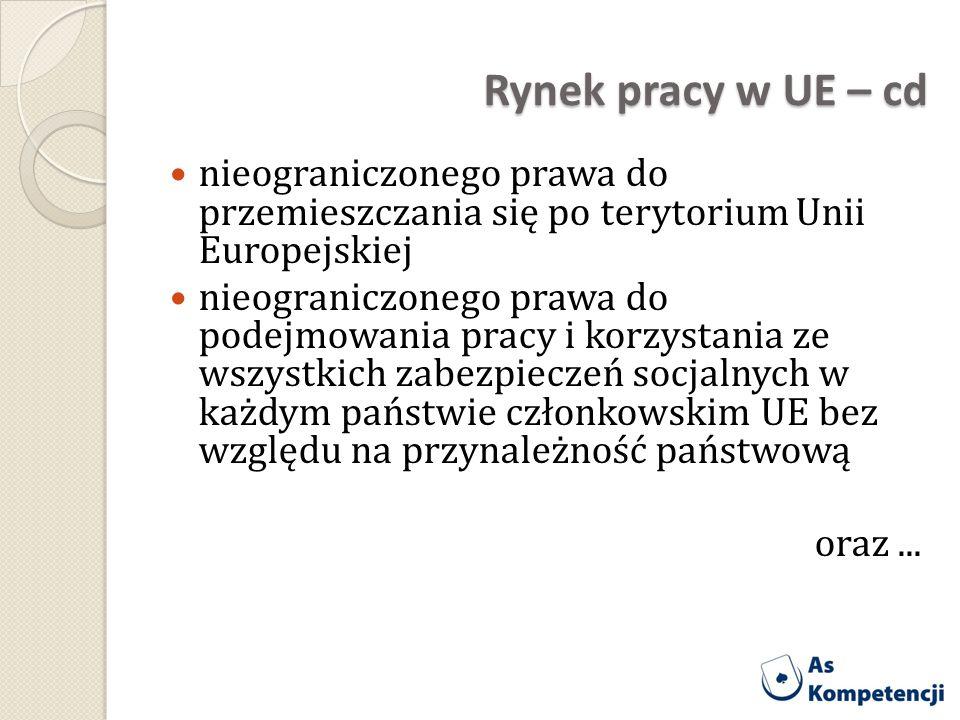 Rynek pracy w UE – cd nieograniczonego prawa do przemieszczania się po terytorium Unii Europejskiej nieograniczonego prawa do podejmowania pracy i kor