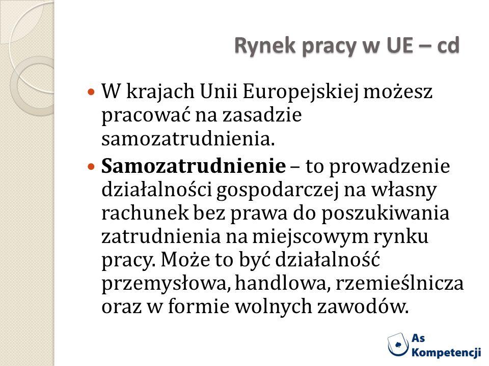 Rynek pracy w UE – cd W krajach Unii Europejskiej możesz pracować na zasadzie samozatrudnienia. Samozatrudnienie – to prowadzenie działalności gospoda