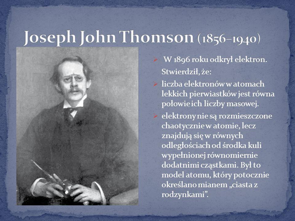 W 1896 roku odkrył elektron.