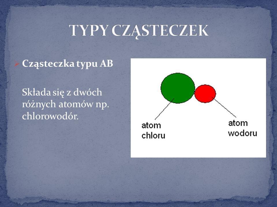 Cząsteczka typu AB Składa się z dwóch różnych atomów np. chlorowodór.