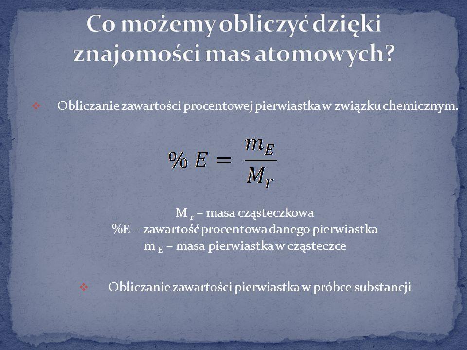Obliczanie zawartości procentowej pierwiastka w związku chemicznym.