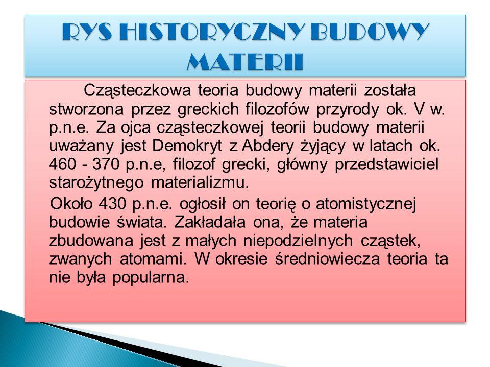 Cząsteczkowa teoria budowy materii została stworzona przez greckich filozofów przyrody ok.