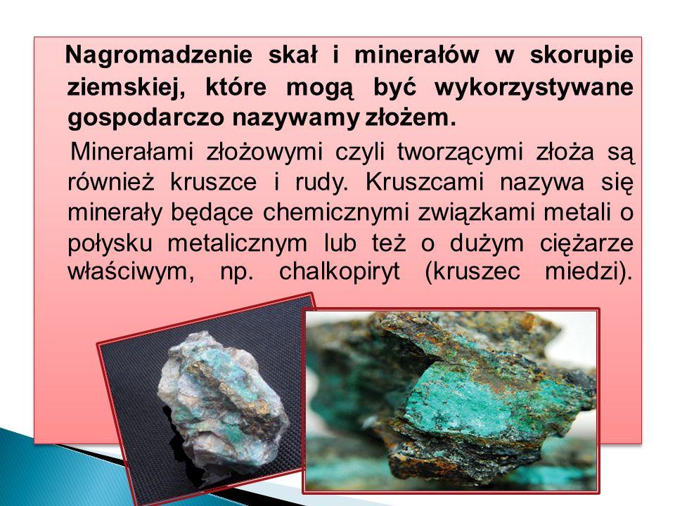 Nagromadzenie skał i minerałów w skorupie ziemskiej, które mogą być wykorzystywane gospodarczo nazywamy złożem.