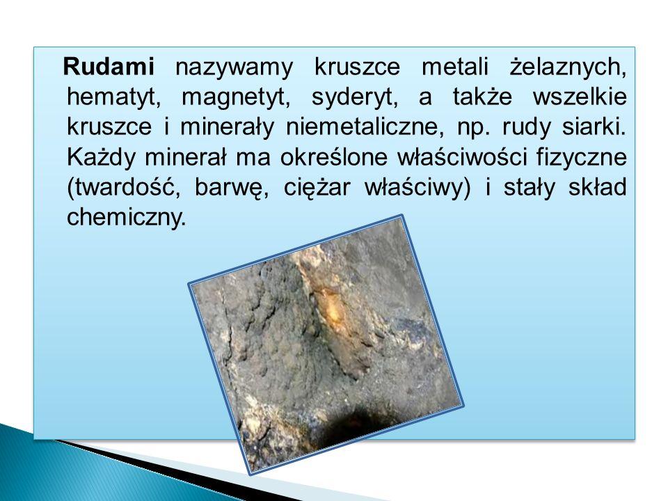 Rudami nazywamy kruszce metali żelaznych, hematyt, magnetyt, syderyt, a także wszelkie kruszce i minerały niemetaliczne, np.