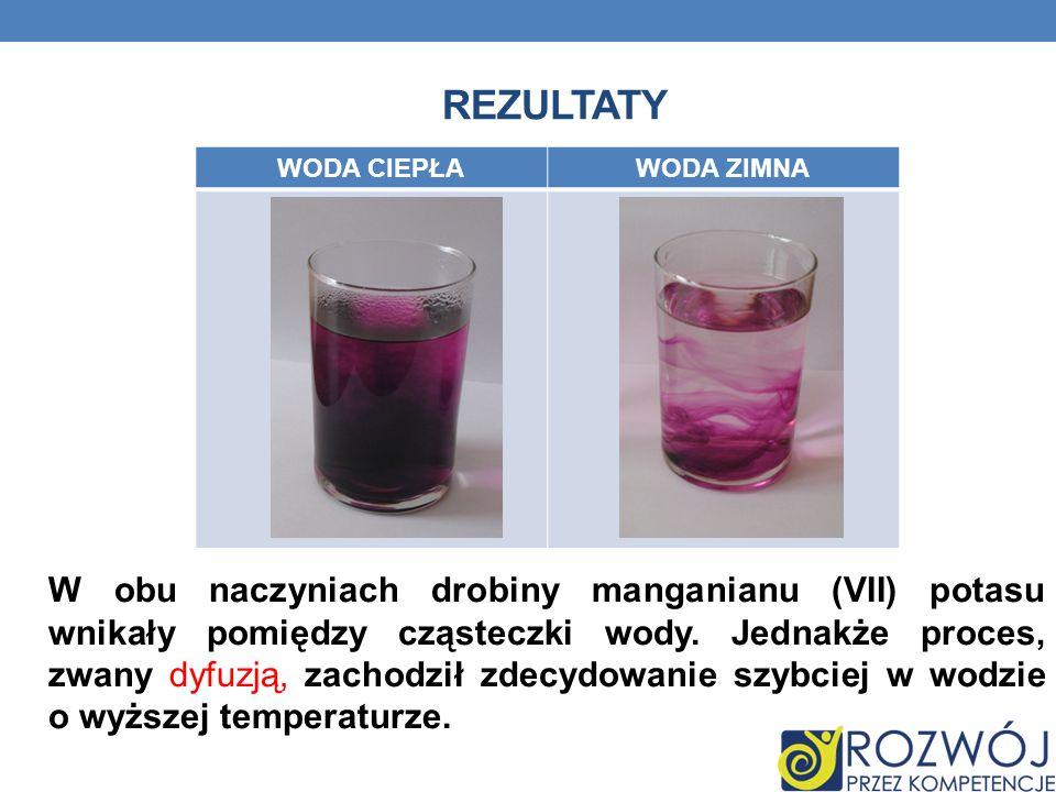 REZULTATY W obu naczyniach drobiny manganianu (VII) potasu wnikały pomiędzy cząsteczki wody.