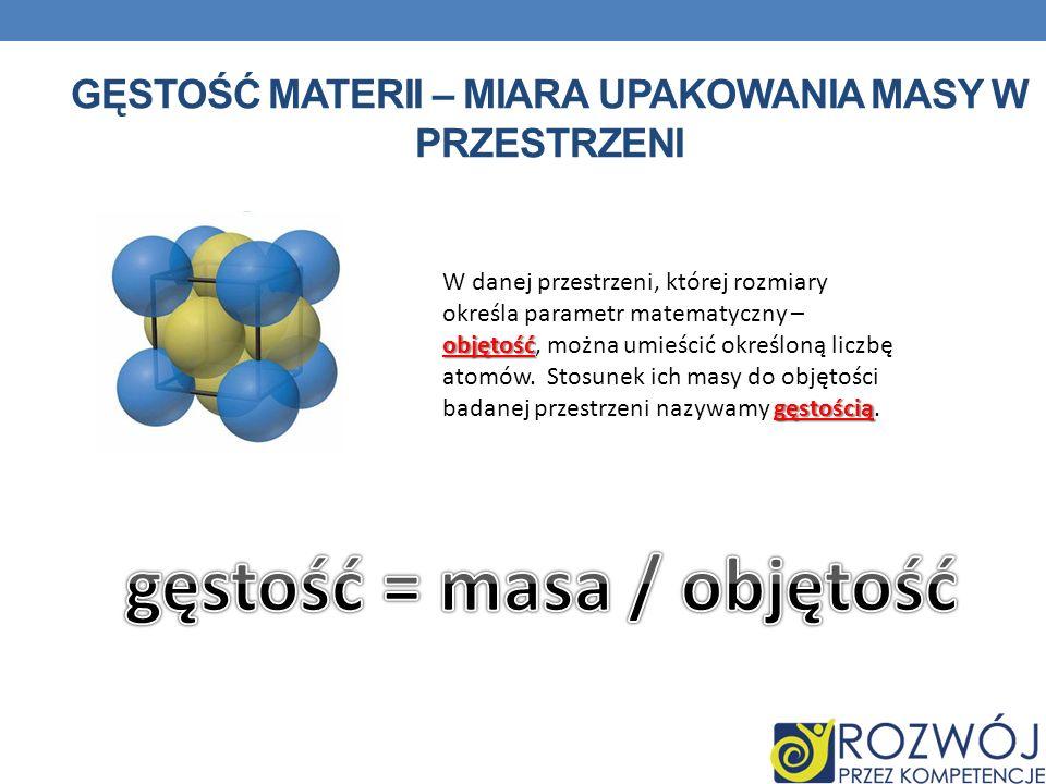 GĘSTOŚĆ MATERII – MIARA UPAKOWANIA MASY W PRZESTRZENI objętość gęstością W danej przestrzeni, której rozmiary określa parametr matematyczny – objętość