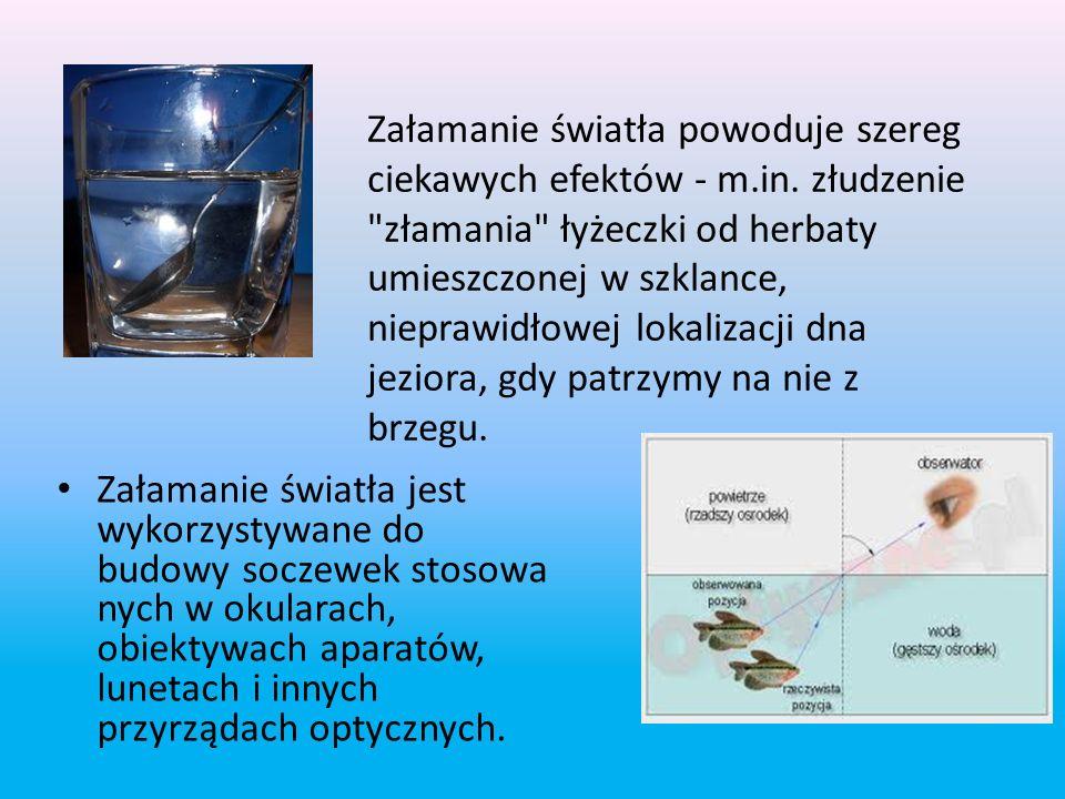 Prawo załamania światła α – kąt padania β – kąt załamania v 1 –prędkość światła w ośrodku 1 v 2 – prędkość światła w ośrodku 2