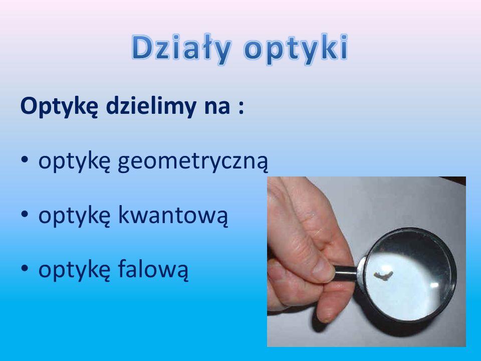Optyka to dział fizyki zajmujący się badaniem natury światła, prawami opisującymi jego emisję, rozchodzenie się, oddziaływanie z materią oraz pochłani