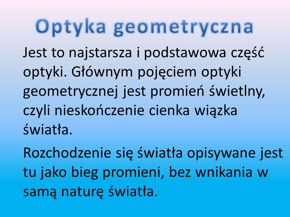 Optykę dzielimy na : optykę geometryczną optykę kwantową optykę falową