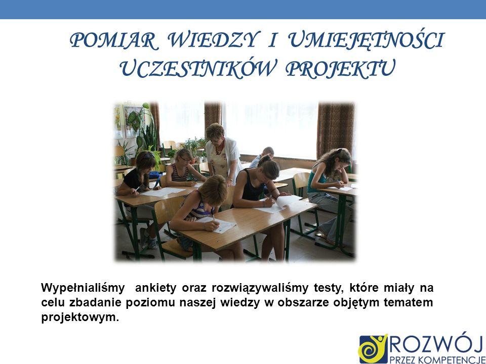 POMIAR WIEDZY I UMIEJĘTNOŚCI UCZESTNIKÓW PROJEKTU Wypełnialiśmy ankiety oraz rozwiązywaliśmy testy, które miały na celu zbadanie poziomu naszej wiedzy w obszarze objętym tematem projektowym.