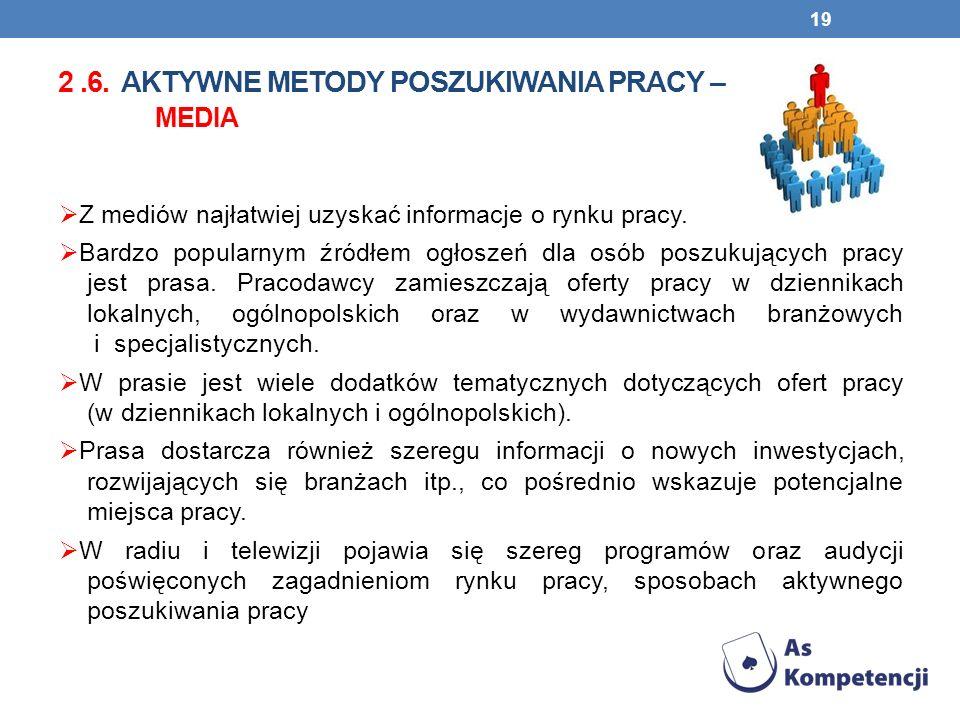 2.6. AKTYWNE METODY POSZUKIWANIA PRACY – MEDIA Z mediów najłatwiej uzyskać informacje o rynku pracy. Bardzo popularnym źródłem ogłoszeń dla osób poszu