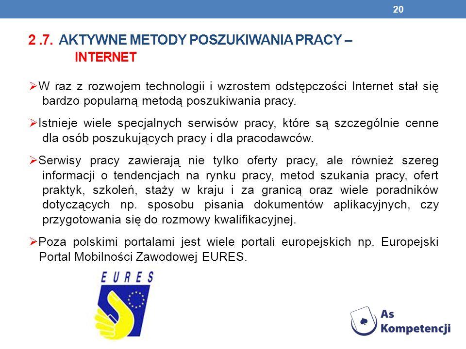 2.7. AKTYWNE METODY POSZUKIWANIA PRACY – INTERNET W raz z rozwojem technologii i wzrostem odstępczości Internet stał się bardzo popularną metodą poszu