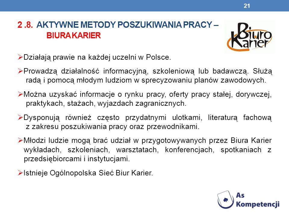 2.8. AKTYWNE METODY POSZUKIWANIA PRACY – BIURA KARIER Działają prawie na każdej uczelni w Polsce. Prowadzą działalność informacyjną, szkoleniową lub b