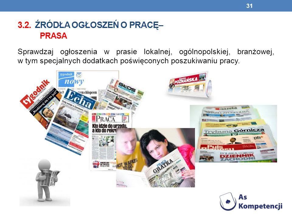 3.2. ŹRÓDŁA OGŁOSZEŃ O PRACĘ– PRASA Sprawdzaj ogłoszenia w prasie lokalnej, ogólnopolskiej, branżowej, w tym specjalnych dodatkach poświęconych poszuk