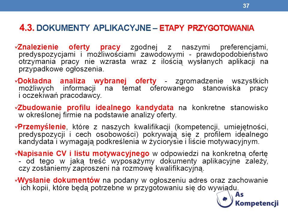 4.3. DOKUMENTY APLIKACYJNE – ETAPY PRZYGOTOWANIA Znalezienie oferty pracy zgodnej z naszymi preferencjami, predyspozycjami i możliwościami zawodowymi