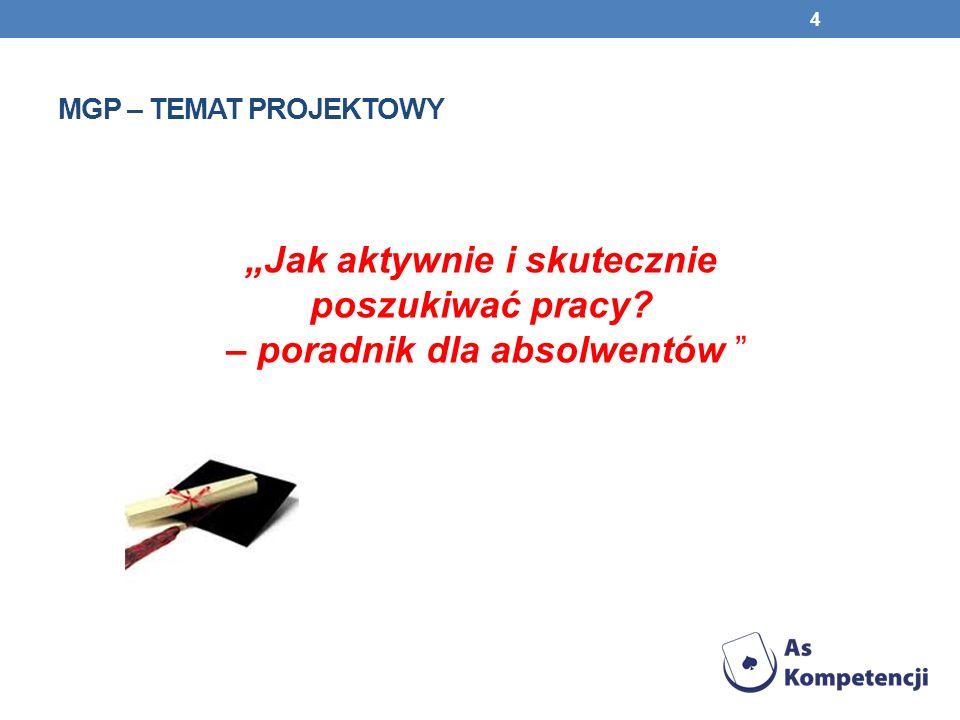 MGP – TEMAT PROJEKTOWY Jak aktywnie i skutecznie poszukiwać pracy? – poradnik dla absolwentów 4
