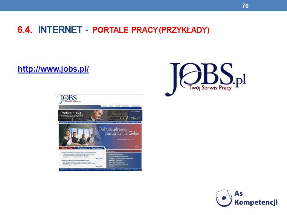 6.4. INTERNET - PORTALE PRACY (PRZYKŁADY) 70 http://www.jobs.pl/