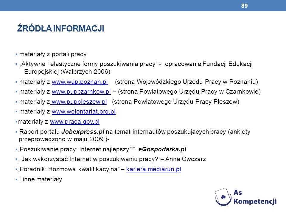 ŹRÓDŁA INFORMACJI materiały z portali pracy Aktywne i elastyczne formy poszukiwania pracy - opracowanie Fundacji Edukacji Europejskiej (Wałbrzych 2006