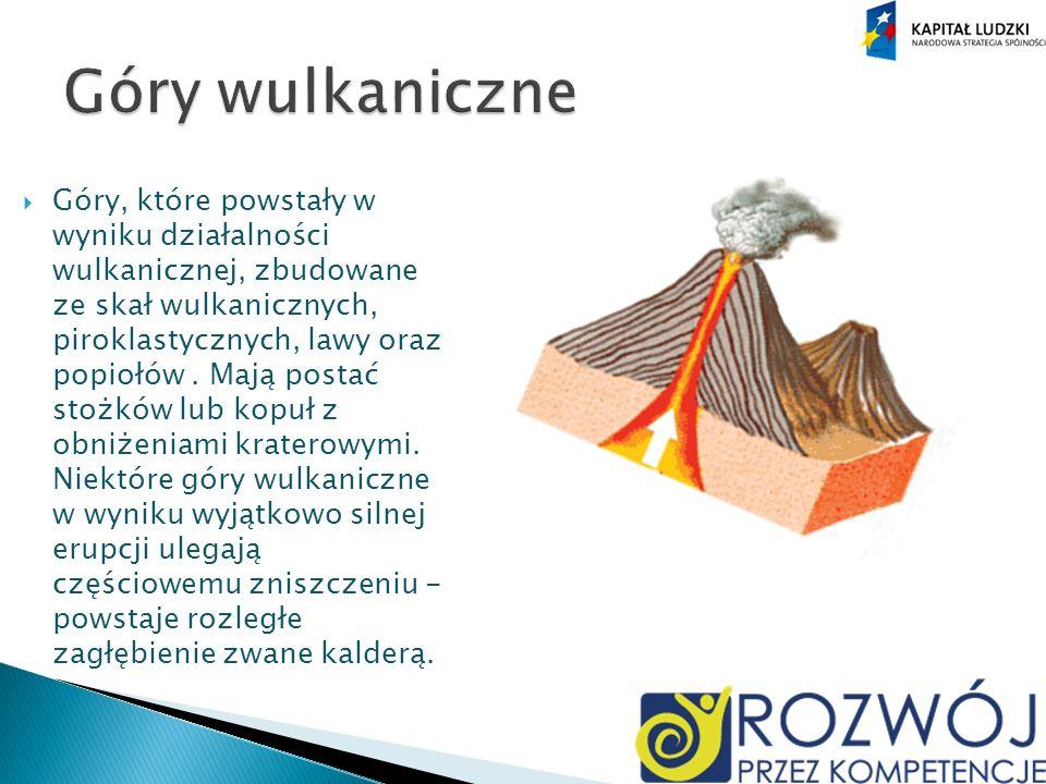 Góry, które powstały w wyniku działalności wulkanicznej, zbudowane ze skał wulkanicznych, piroklastycznych, lawy oraz popiołów.