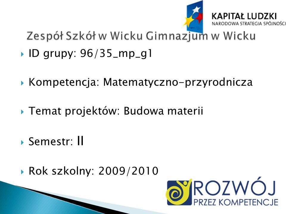 ID grupy: 96/35_mp_g1 Kompetencja: Matematyczno-przyrodnicza Temat projektów: Budowa materii Semestr: II Rok szkolny: 2009/2010