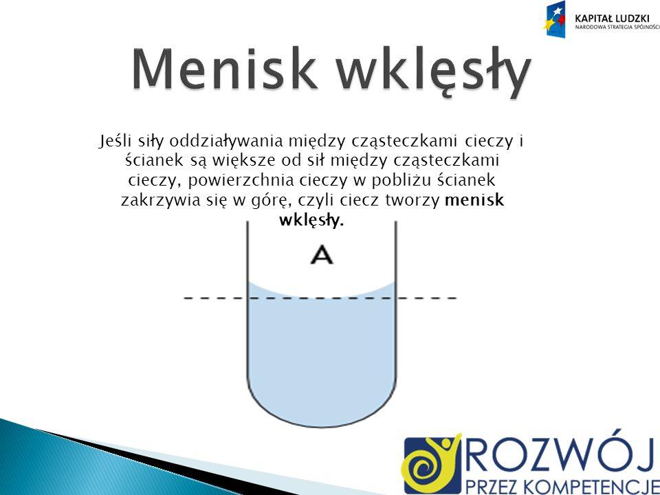 Jeśli siły oddziaływania między cząsteczkami cieczy i ścianek są większe od sił między cząsteczkami cieczy, powierzchnia cieczy w pobliżu ścianek zakrzywia się w górę, czyli ciecz tworzy menisk wklęsły.