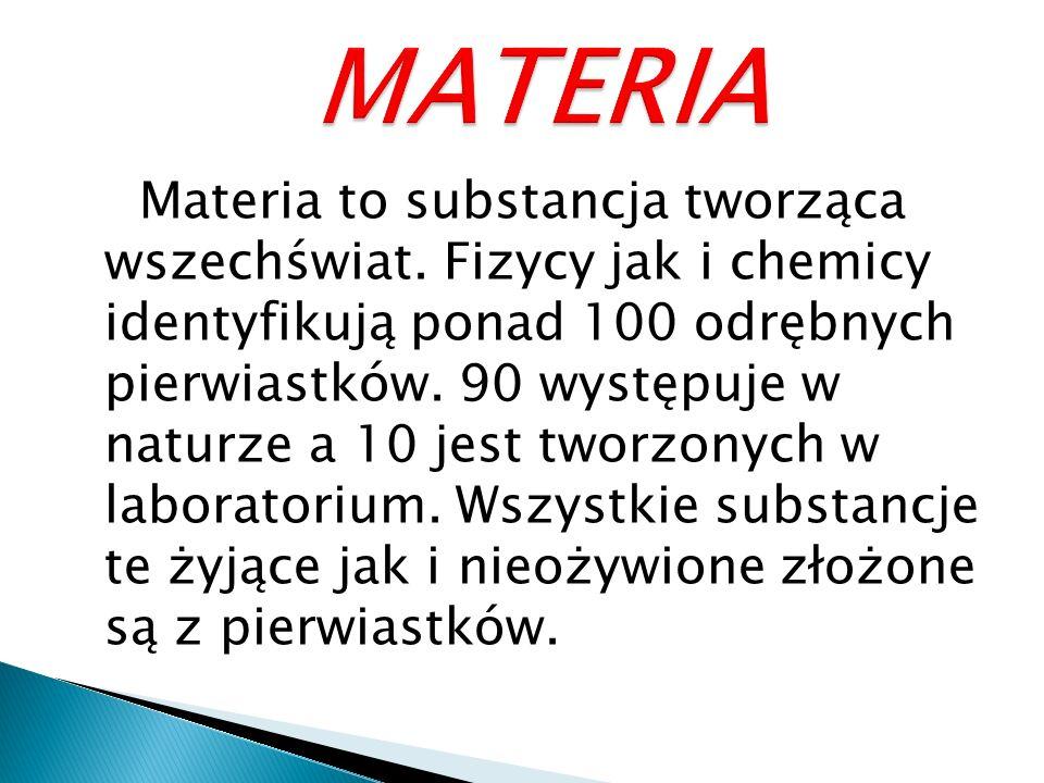Materia to substancja tworząca wszechświat.