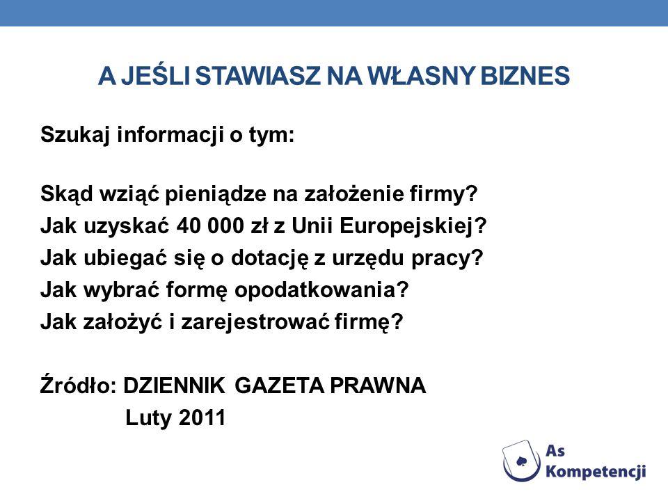 A JEŚLI STAWIASZ NA WŁASNY BIZNES Szukaj informacji o tym: Skąd wziąć pieniądze na założenie firmy? Jak uzyskać 40 000 zł z Unii Europejskiej? Jak ubi