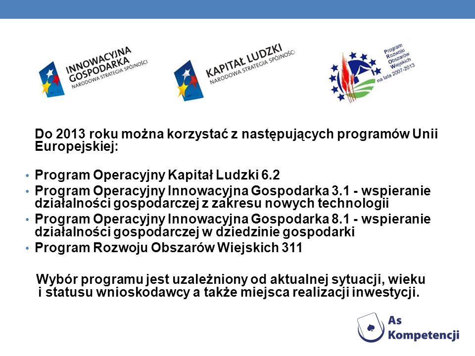Do 2013 roku można korzystać z następujących programów Unii Europejskiej: Program Operacyjny Kapitał Ludzki 6.2 Program Operacyjny Innowacyjna Gospoda