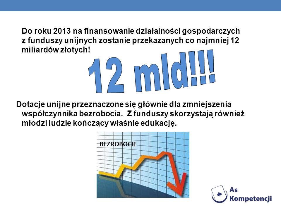 Do roku 2013 na finansowanie działalności gospodarczych z funduszy unijnych zostanie przekazanych co najmniej 12 miliardów złotych! Dotacje unijne prz