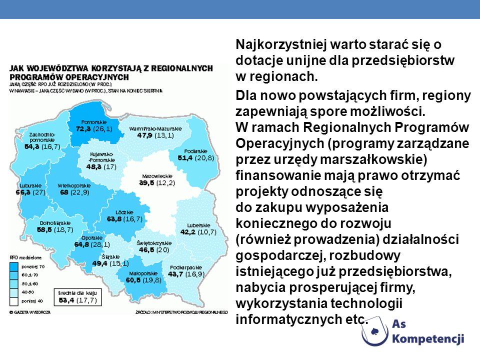Najkorzystniej warto starać się o dotacje unijne dla przedsiębiorstw w regionach. Dla nowo powstających firm, regiony zapewniają spore możliwości. W r